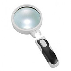 Лупа Kromatech ручная круглая 5х, 90 мм, с подсветкой (2 LED), черно-белая 77390B
