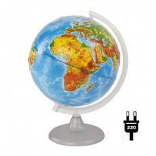 Глобус физический рельефный диаметр 250 мм с подсветкой